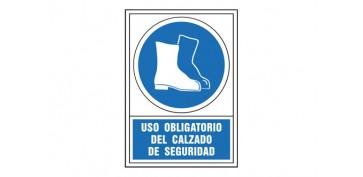 Señalizacion - SEÑAL OBLIGACION CASTELLANO 345X245 MM-OBLIGATORIO USO CALZADO SEGURIDAD