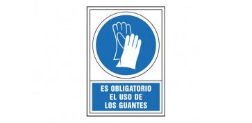 SEÑAL OBLIGACION CASTELLANO 345X245 MM-OBLIGATORIO USO DE GUANTES