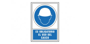 SEÑAL OBLIGACION CASTELLANO 345X245 MM-OBLIGATORIO USO DEL CASCO