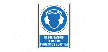 SEÑAL OBLIGACION CASTELLANO 345X245 MM-OBLIGATORIO USO PROTECCION ACUSTICA