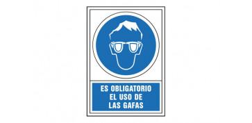 Señalizacion - SEÑAL OBLIGACION CASTELLANO 490X345 MM-OBLIGATORIO USO DE GAFAS