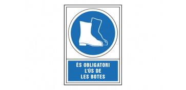 Señalizacion - SEÑAL OBLIGACION CATALAN 345X245 MM-OBLIGATORI L\'US CALÇAT SEGURETAT
