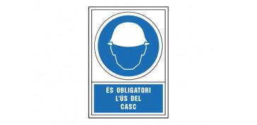 Señalizacion - SEÑAL OBLIGACION CATALAN 345X245 MM-OBLIGATORI L\'US DEL CASC