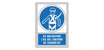Señalizacion - SEÑAL OBLIGACION CATALAN 490X345 MM-OBLIGATORI L\'US D\'ARNES SEGURETAT