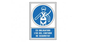 SEÑAL OBLIGACION CATALAN 490X345 MM-OBLIGATORI L\'US D\'ARNES SEGURETAT