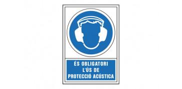 Señalizacion - SEÑAL OBLIGACION CATALAN 490X345 MM-OBLIGATORI L\'US DE PROTECCIO ACUSTICA