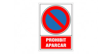 SEÑAL PROHIBICION CATALAN 490X345 MM-PROHIBIT APARCAR