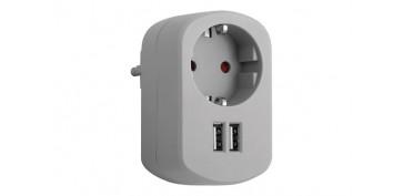 Material instalacion electrico - ADAPTADOR CON DOBLE USB GRIS CENIZA