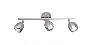 Iluminacion vivienda - REGLETA 3 FOCOS LED GU10 3W NANTES NIQUEL