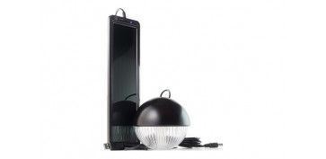 KIT SOLAR RECARGABLE CON LAMPARA 3 LEDS NEGRO