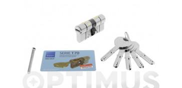Cerraduras - CILINDRO T70 NIQUEL LLAVE PUNTOS 30-40