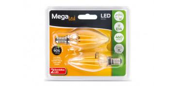 LAMPARA FILAMENTO LED VELA (2UNI) 5W E-14 LUZ CALIDA (2700K)