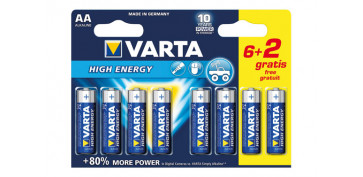 Pilas y baterías - PILA ALCALINA HIGH ENERGY 6+2 AA