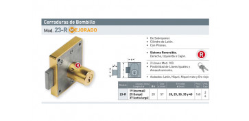 CERRADURA SOBREPONER MUEBLE BOMBILLO 19 MM 23R/25 MM LATONADA