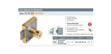CERRADURA SOBREPONER MUEBLE BOMBILLO 19 MM 23R/30 MM LATONADA