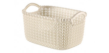 CESTA RECTANGULAR KNIT XS 3L BLANCO OASIS