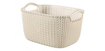 CESTA RECTANGULAR KNIT S 8L BLANCO OASIS