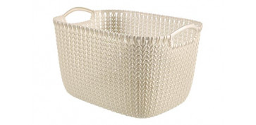 CESTA RECTANGULAR KNIT L 19L BLANCO OASIS