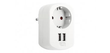 Material instalacion electrico - ADAPTADOR CON DOBLE USB 3.15A BLANCO