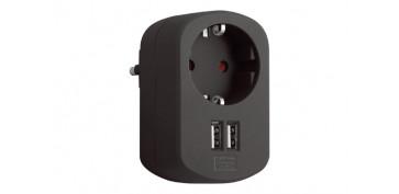 Material instalacion electrico - ADAPTADOR CON DOBLE USB 3.15A NEGRO