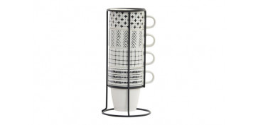 MUG PORCELANA APILABLE SET 4U SOPORTE METAL BOHO