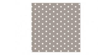 Textil y costura - SERVILLETA PAPEL 3C (20 UN) ESTRELLAS GRIS/BLANCA