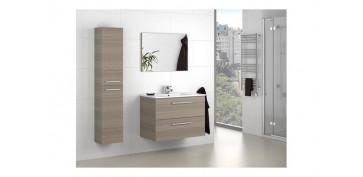 Mobiliario de baño - MUEBLE BAÑO + ESPEJO ARUBA FRESNO 57X80X45