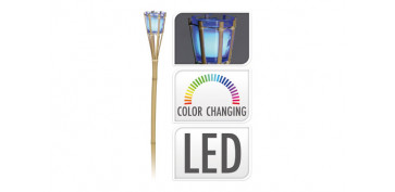 ANTORCHA BAMBU CON LED CAMBIABLE75 X 75 X H 77 CM