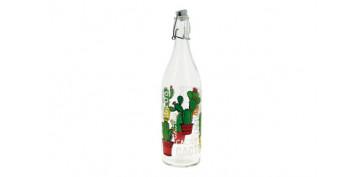 Reutilizable Eco-Friendly - BOTELLA CRISTAL 1L DECORADA CACTUS