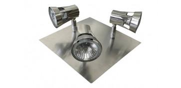 Iluminacion vivienda - PLAFON CUADRADO FOCO 3 ELEMENTOS SUN GU-10 50W