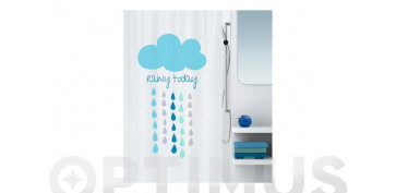 CORTINA BAÑO POLIESTER 180X200CLOUD BLUE