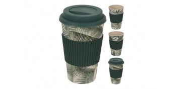 MUG BAMBOO CON TAPA SURTIDO TROPICAL 425ML