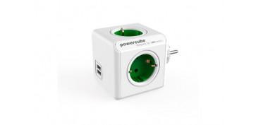 Material instalacion electrico - ADAPTADOR POWERCUBE 4T + 2USBVERDE