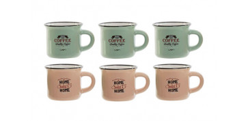 Vajillas - TAZA CAFE GRES SURTIDO SET 6UHOME/COFFEE 7,5 CL
