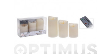 Decoración - VELAS CERA LED CON MANDO SET 3 U7,5 X 10 X 12,5 X 15 CM NATURAL