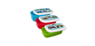 Reutilizable Eco-Friendly - CONTENEDOR PORTA ALIMENTOS INFANTIL SET 3UVEHICULOS
