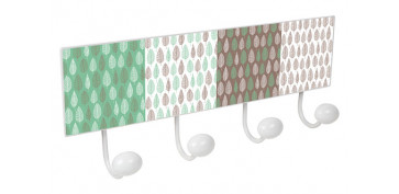 PERCHA PARED 4 POMOS METAL/PORCELANAHOJAS VERDE MARRON
