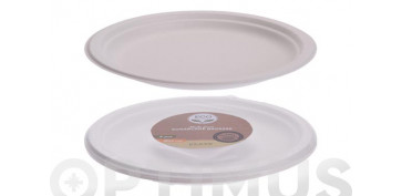 Vajillas - PLATO LLANO DESECHABLE BIODEGRADABLE (PACK 8 U)Ø 22,5 CM