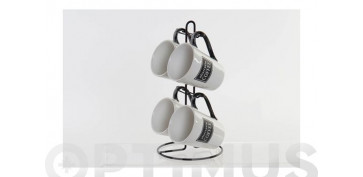 Vajillas - MUGS SET 4 U CON SOPORTE30 CL BLANCO/NEGRO
