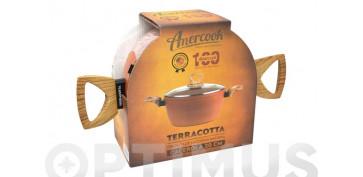 Coccion - CAZUELA ALTA CON TAPA ALUMINIO FORJADO TERRACOTTA 20 CM  INDUCCION