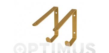 Alambre, muelles y sirgas - ESCUADRA METAL GANCHO LATON  SET 2 UDS22 X 14,5 CM