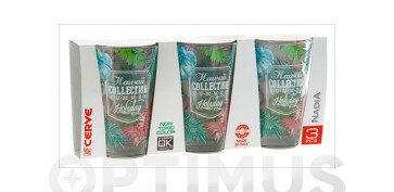 VASO ALTO DECORADO PACK 3U31 CL - HAWAII