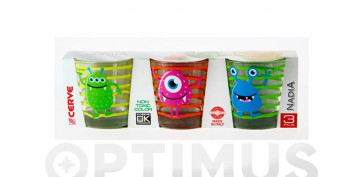 VASO AGUA DECORADO PACK 3U25 CL - MONSTER SURTIDO