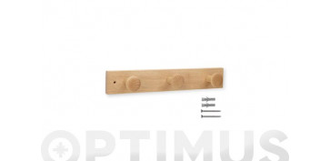 Topes y perchas adhesivas - COLGADOR FRESNO 3 POMOS NATURAL 360X60X70