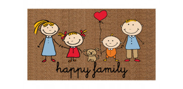 Decoración - FELPUDO COCO ESTAMPADO 70 X 40 CM HAPPY FAMILY